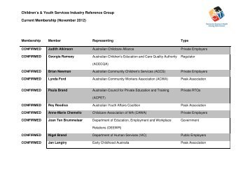 Children's & Youth Services Industry Reference Group Current ...