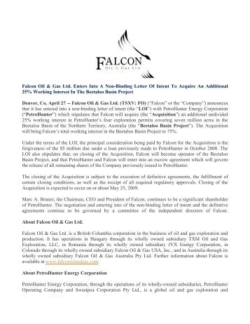 falcon oil gas ltd enters into binding agreement to acquire an