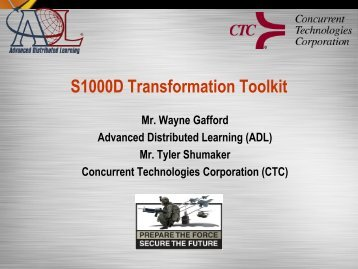 S1000D Transformation Toolkit - Advanced Distributed Learning