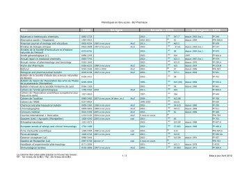 Titre ISSN En ligne En salle – COTE En magasin – COTE