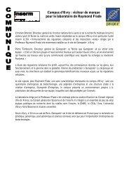 Campus d'Evry : visiteur de marque pour le laboratoire ... - Genopole