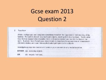 GCSE Exam 2013 Q2 - Kingsdown School