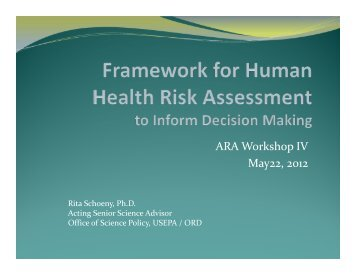 Presentation - Alliance for Risk Assessment