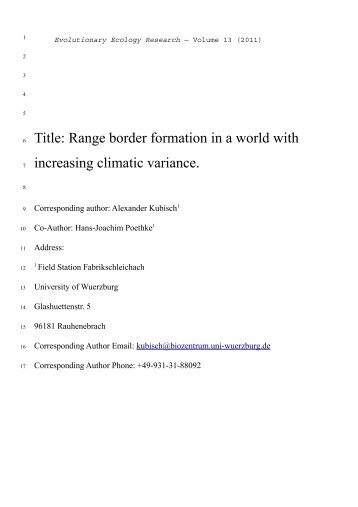 Range border formation in a world with increasing climatic variance.