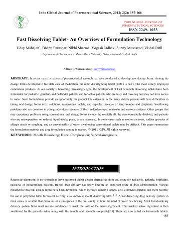 Fast Dissolving Tablet - Indo Global Journal of Pharmaceutical ...