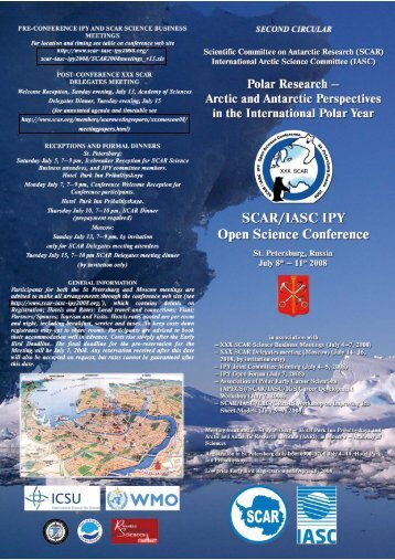 Second circular of the SCAR/IASC IPY Conference in St. Petersburg ...