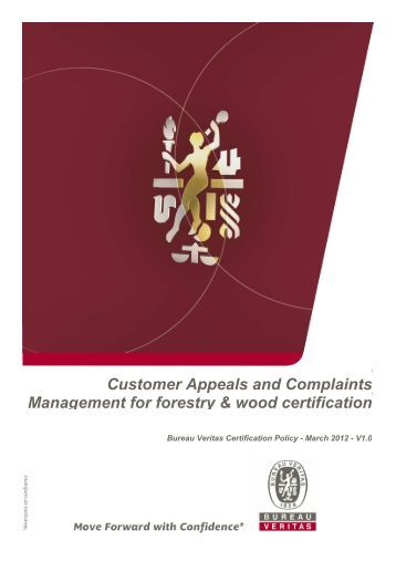 customer complaint management policy for forest ... - Bureau Veritas