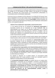Comunicación previa y declaración responsable - Ministerio de ...