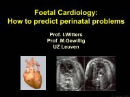 Foetal Cardiology: How to predict perinatal problems - UZ Leuven