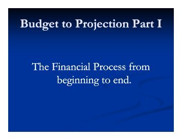 Budget to Projections 2007 – Part 1 - Case Western Reserve ...