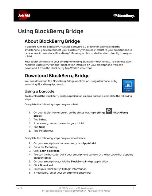Connect your tablet and smartphone using BlackBerry Bridge