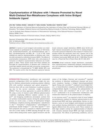 Copolymerization of ethylene with 1-hexene promoted by novel ...