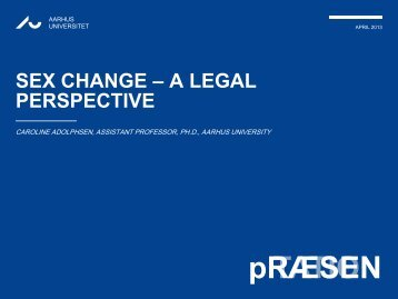 Sex change – a legal perspective (including an overview of the ...
