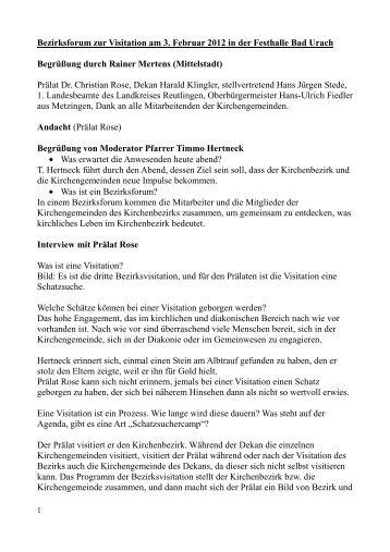 Protokoll Forum Visitation - Evang. Kirchenbezirk Bad Urach