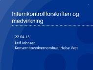 Internkontrollforskriften og medvirkning - Helse Vest