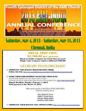 travel information. - Fourth Episcopal District