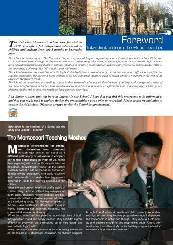 Download Prospectus - Leicester Montessori Schools