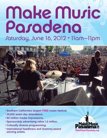 Saturday, June 16, 2012 • 11am–11pm - Old Pasadena