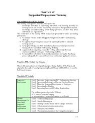 Overview of Supported Employment Training Curriculums
