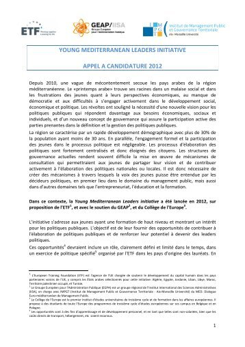 young mediterranean leaders initiative appel a candidature 2012