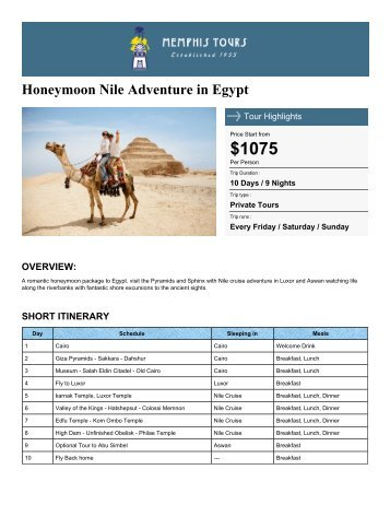 Honeymoon Nile Adventure in Egypt - Memphis Tours Egypt