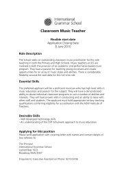 Classroom Music Teacher - International Grammar School