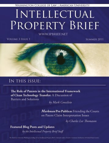 Volume 3, Issue 1 - American University Intellectual Property Brief