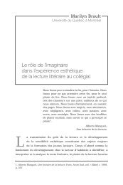 Le rôle de l'imaginaire dans l'expérience esthétique de la lecture ...