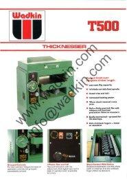 Wadkin T500 Thicknesser Literature