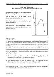 Hoch- und Tiefpunkte – Die Bestimmung maximaler und minimaler ...