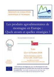 Les produits agroalimentaires de montagne en Europe - Euromontana