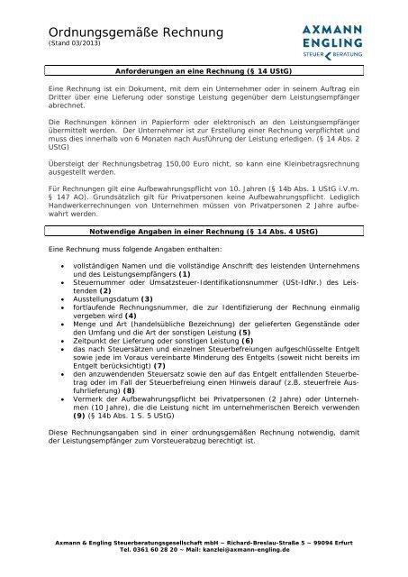 Ordnungsgemäße Rechnung Axmann Engling