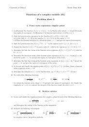 Functions of a complex variable (S1) Problem sheet 3 - University of ...