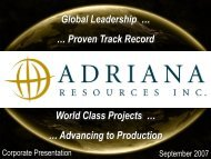 Advancing to Production - Adriana Resources Inc.