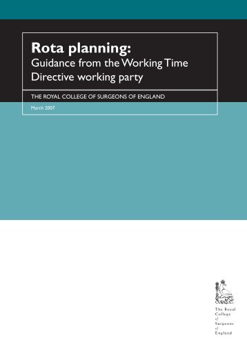 rota planning.pdf - The Royal College of Surgeons of England