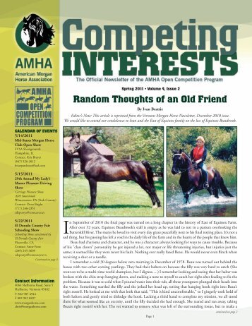 Random Thoughts of an Old Friend - American Morgan Horse ...