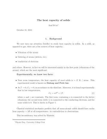 The heat capacity of solids - University College Cork