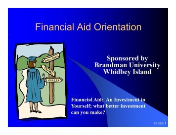 FINANCIAL AID NIGHT Presentation, January 10, 2013