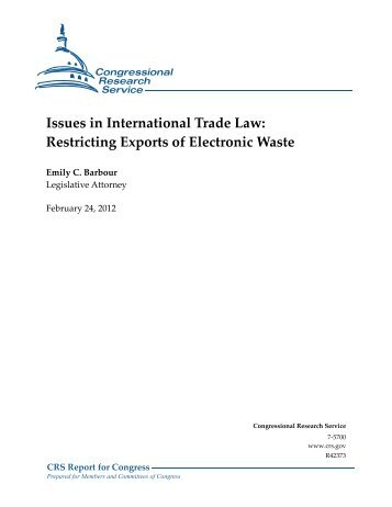 Issues in International Trade Law: Restricting Exports of Electronic ...