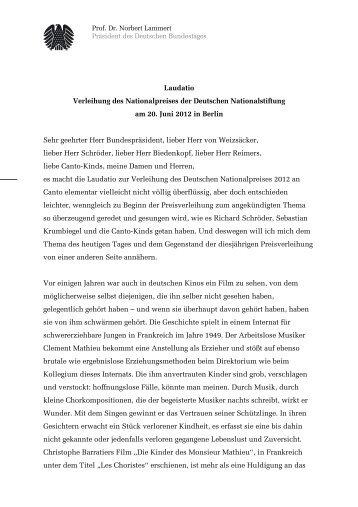 Laudatio von Norbert Lammert zur Verleihung des ... - Miz.org