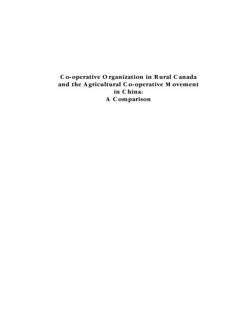 Co-operative Organization in Rural Canada and the Agricultural Co ...