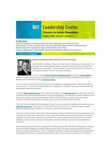 Collective Intelligence for Global Leaders - Leadership Center - MIT