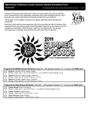 Manchester Craftsmen's Guild: Summer Studios Enrollment Form