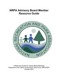 NRPA Advisory Board Member Resource Guide - City of Wylie