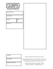 GURPS 4th Edition Character Record - RPG Sheets