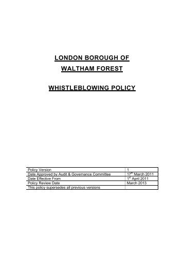 whistleblowing policy waltham forest council