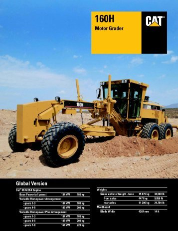 Specalog for 160H Motor Grader, AEHQ5450 - Wagner Asia ...