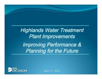 Highlands Water Treatment Plant Improvements Improving ...