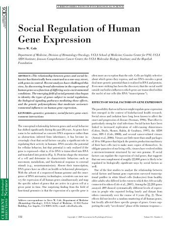 Social Regulation of Human Gene Expression