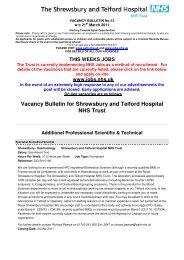 Vacancy Bulletin for Shrewsbury and Telford Hospital NHS - Royal ...